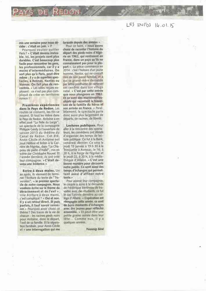 article Les Infos Pays de Redon 14.01.15 page 2