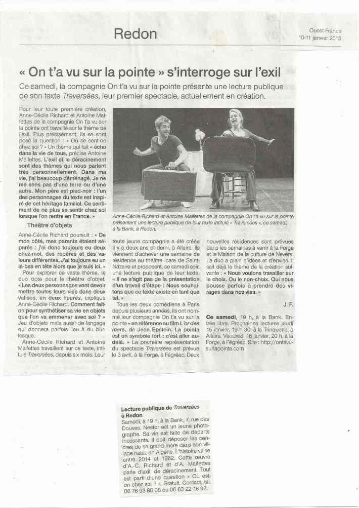 article Ouest France 10-11 janvier 2015